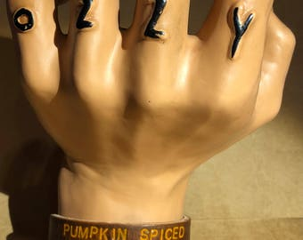 Pumpkin Spiced Basic Bitch -- Leather Cuff Bracelet