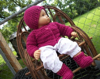 """15"""" Bitty Baby Doll Sweater, Hat & Boots, Bitty Baby clothes, doll sweater, fits 1940s.17"""" Effanbee,Horsman baby dolls, doll shoes, doll hat"""