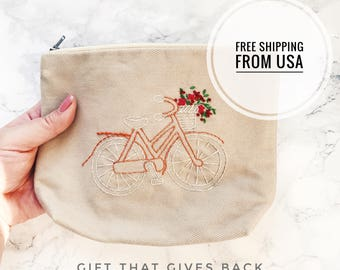 Bike Lover Gift, Bicycle lover present, Bicycle Zipper bag, Gifts for Cyclists, Bicycling Gift Ideas, Gift for Her. Gift that Gives Back.
