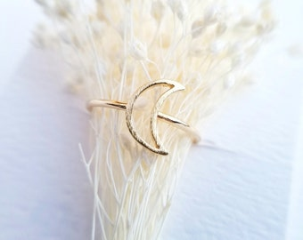 Open Crescent Moon Ring - Gold Ring - Adjustable Ring - Open Moon Ring - Stacking Ring - Unique Ring - Friendship Ring - Gift For Her