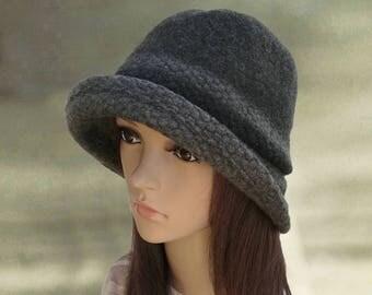 Gray felt hats, Felted ladies hat, Womens felted hat, Trendy women's hat, Cloche hat,  Felted wool hats, Ladies winter hats, Hats felt wool
