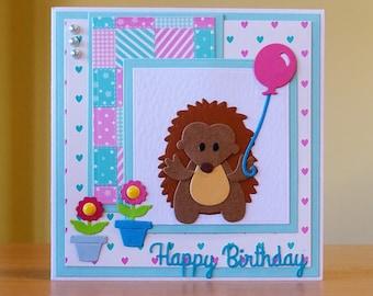 Birthday Card, Handmade - Cute Hedgehog Holding Balloon With Flowers - Hedgehog Card - Children's Card - Cute Hedgehog Card