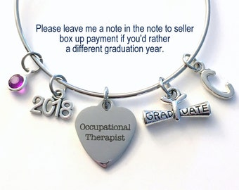 OT Graduation Bracelet 2017 or 2018, Occupational Therapist Grad Gift for Her Student Grad Silver Bangle Therapy initial birthstone letter