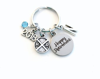 Retirement Gift for Conductor, 2018 Railroad Key Chain Rail Road Keyring Railway Train Sign him her men women present Retire Birthstone Man