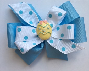 Easter Egg Bow Pastel Blue and White Polka Dot Bow with Light Blue Polka Dots Easter Bow with Sparkly Egg in Center Pastel Easter Bow
