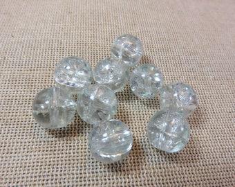20pcs, Pearl glass beads Crackle round beads 12mm, set of 20 beads, white beads for jewelry, glass Crackle beads