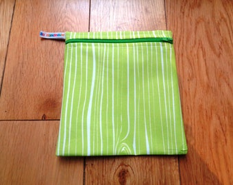 Snack Bag - Bikini Bag - Lunch Bag  - Zero Waste Medium Poppins Waterproof Lined Zip Pouch - Sandwich bag - Eco - Lime Wood Grain