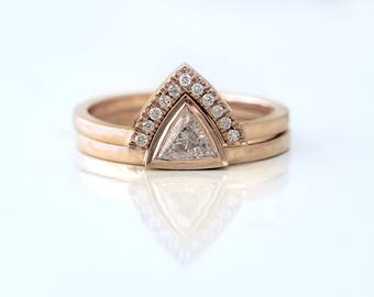Trillion Engagement Set ~ Triangle Engagement Ring ~  Trillion Diamond Wedding Set ~ Triangle Ring Set ~ Simple Trillion Ring