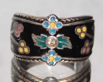 Vintage Sterling Silver Enameled Ring Sz 8.75 M100