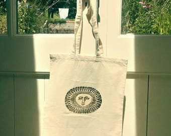 Hand-printed Cotton Tote Shopping Bag Sun Face Hippie Festival Casual Cream