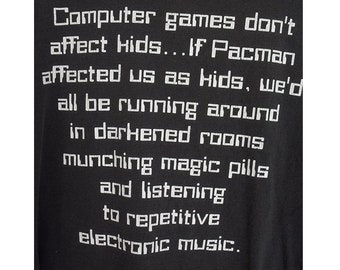 Vintage XXL 90's Games Don't Effect Kids pacman funny novelty print distressed tee tshirt