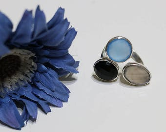 Triple sterling silver ring with gemstones, onyx, chalcedony, gray quartz,triplet ring,coctail ring,gray, blue,black,sigal,israeli jewelry