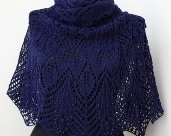 Navy Blue Shawls winter shawl,Hand Knitted Shawl ,Party scarf,Wedding shawl,Women Shawl,Wool Shawl,Handmade Shawl ,