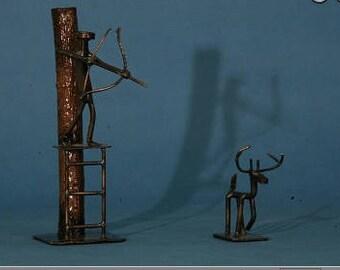Bow hunter metal art   Bow hunter   Metal Art   Hunting figurine   Railroad spike art   Metal Art Hunting   Hunting   Bow and arrow   Deer