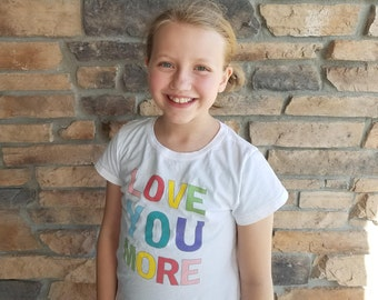 """Girls """"Love You More"""" Crew Neck Tee"""
