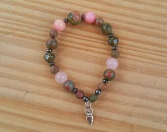 Pink and Green Moss Agate, Jasper, Rhodonite, Rose Quartz, Unakite Divine Feminine Goddess bracelet
