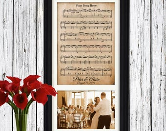 Unique First Anniversary Gifts for Husband | Your Authentic First Dance Sheet Music | Framed Wedding Photo 1st Anniversary Gifts for Men