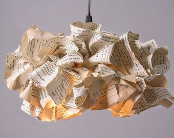 XL Book Paper Lamp, Ceiling light, light Pendant, Reading Office Decor, Pendant Lamp