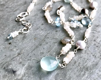 Moonstone Necklace Luxe Jewelry for Her Blue Topaz Labradorite Pearl Aquamarine Wire Wrapped Sterling Silver Boho Glam Bridal Gemstone