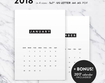 Printable Calendar 2018, Minimalist Calendar Planner 2018 PDF, A4 UsLetter A5 Calendar Printable Wall Calendar, Minima Instant Download