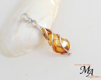 Amber stone Pendant Silver sterling 13639 AUTHOR'S +Certificate myamber.eu