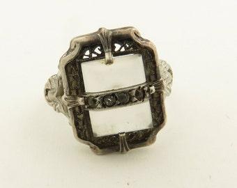 Vintage 1940's Art Deco Silver Crystal Quartz Marcaite Ring / 6.5