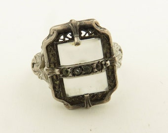 Vintage 1940's Art Deco Sterling Silver Crystal Quartz Marcasite Ring / 6.5