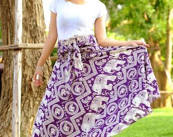 Elephant Skirt Long skirt hippie Skirt beautiful skirt Purple