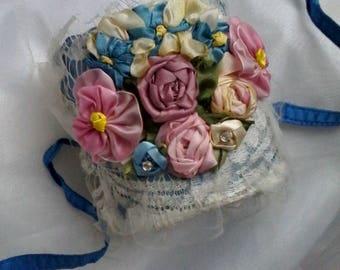 shabby chic flower cuff, ribbon rose cuff, bridal cuff, hand embellished fabric cuff, pink blue and cream, floral shabby cuff
