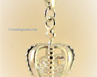 """Trusting Souls """"Eyes of God"""" Laminated Bookmark & """"Devotion"""" Silver Plated Crown Charm with Cubic Zirconia Inset on Lobster Clasp"""