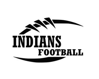 Indians Football high school college SVG File Cutting, DXF, EPS design, cutting files for Silhouette Studio and Cricut Design space Sport