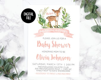Baby Shower Invitation | Baby Deer | Oh Deer | Baby Girl | Printable/Digital