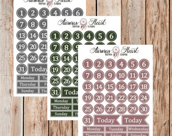 Vintage Numbers & Days planner stickers