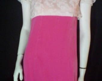 SALE! Vintage 70's Pink Velvet Maxi Dress