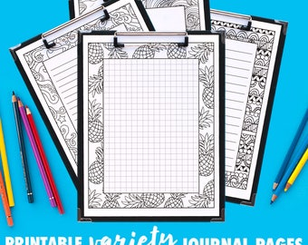 Journal Pages | Variety Series | 10 Pack | PDF includes grid, small lines, big lines and blank variations