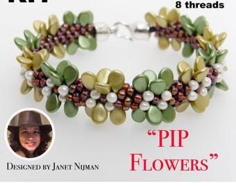 Kumihimo kit Pip Flowers incl pattern tutorial 8 threads