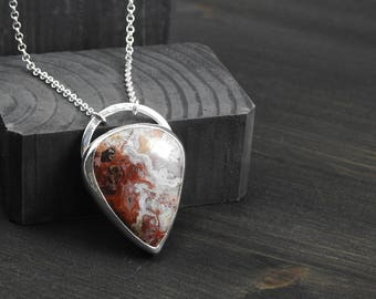 Agate pendant Artisan jewelry silver pendant gemstone jewelry Boho jewelry One of a kind bohemian pendant gift for her Silver jewelry