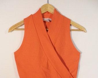 EXRESS Compagnie Internationale vintage tank top// 80s cross orange short crop sleeveless shirt// Women's size small to medium S M