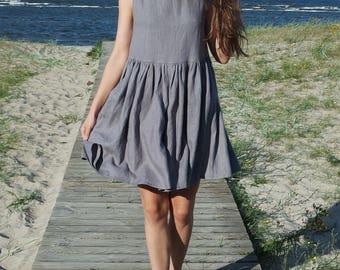 Gray linen dress, Linen dress, Maternity dress, Linen womens dress, Linen short dress, Small size dress, Linen clothing, Washed soft linen