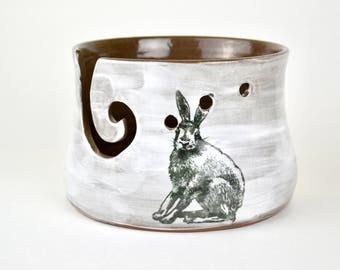 Large white knitting bowl yarn bowl with rabbit