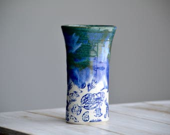 Blue sea life drippy tall ceramic tumbler handmade pottery