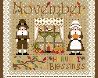 November Monthly Sampler Cross Stitch Chart  PDF