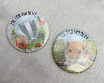 Vintage 1980s Wildlife Pin Badges Mouse and Badger