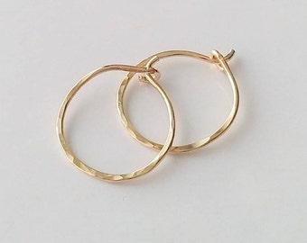 "1/2"" Small Hoop Earrings, 14K Gold Filled Hammered Hoop Earrings, Tiny Hoop Earrings, Minimal Earrings, Everyday Earrings."