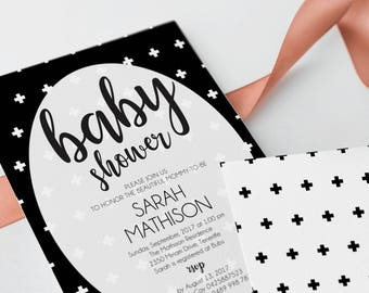 Baby Shower Invitation Gender Neutral, Baby Shower Invitations, Crosses Invitation Gender Neutral, Black and White Invitations, Modern