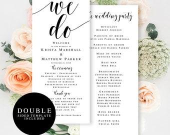 Printable wedding program Template download Editable wedding program We do wedding Programs for wedding Rustic wedding program cards #vm31