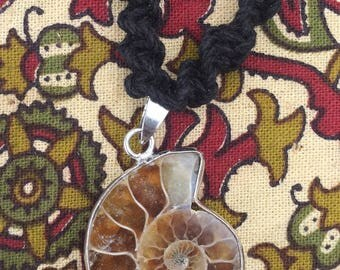 Ammonite + hemp necklace