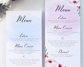 Watercolour Menus, Pink and Slate Blue Printable Menus or Printed Menus, Watercolour flowers Menus for all occasion, Beach menu, Sky Blue