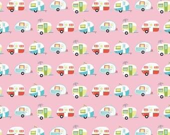 Glamper-licious - Per Yard - Riley Blake Designs By Samantha Walker. Campers on pink