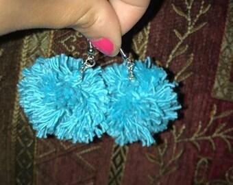 Turquoise Blue Pom Pom Earrings